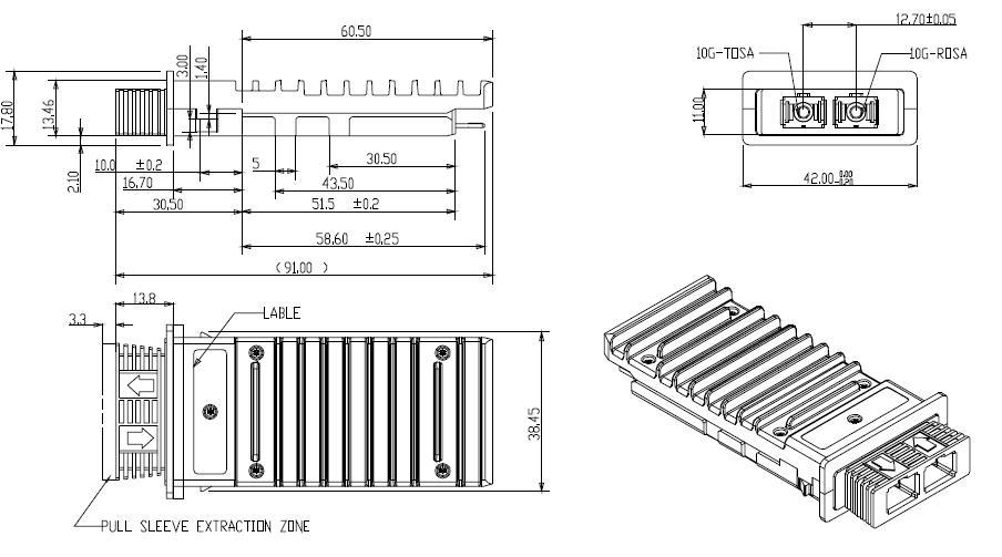 10G 1550nm SM X2 ER Transceiver SPT-X2-ER